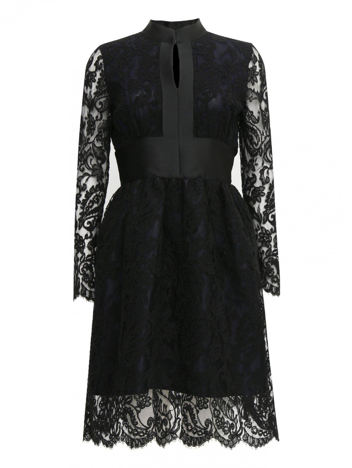 Черное платье хлопок кружево флористические базы в москве