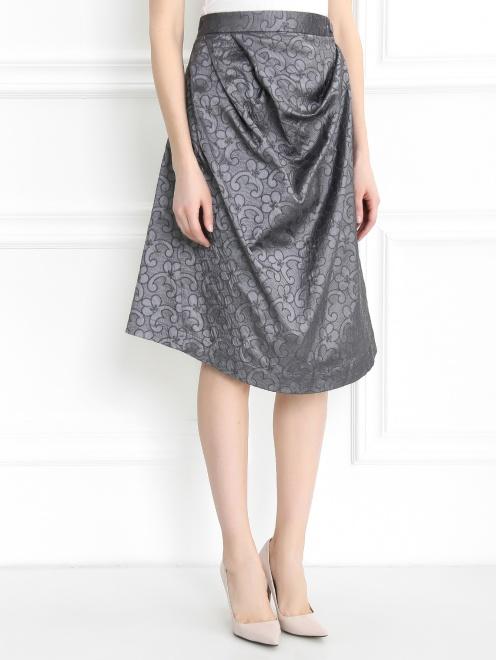 Асимметричная юбка с драпировкой - Модель Верх-Низ