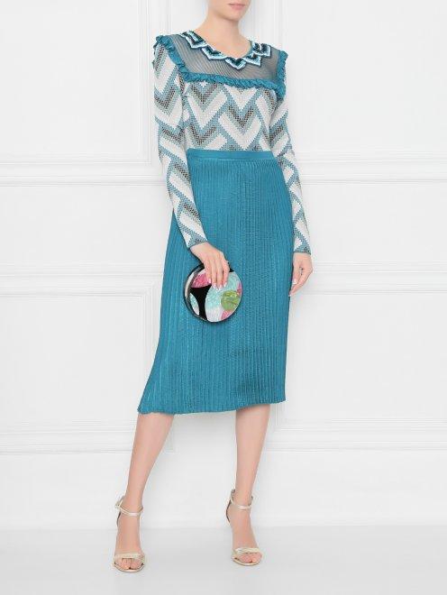 Платье трикотажное с рисунком и плиссированной юбкой - Общий вид