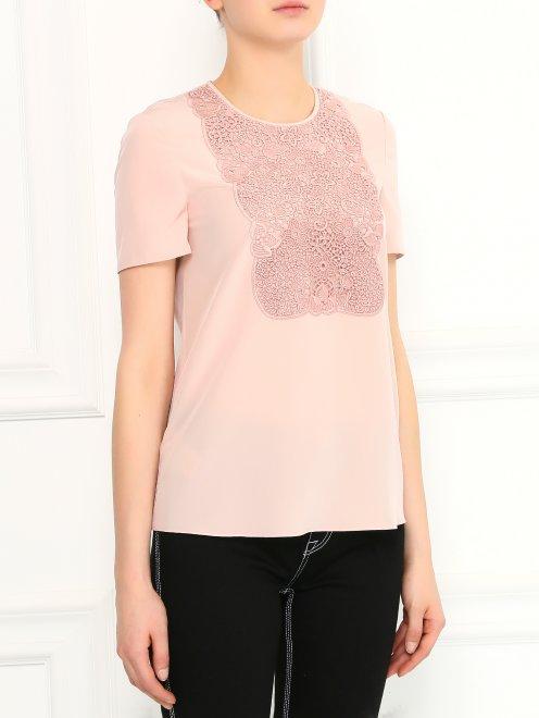 Блуза из шелка с ажурной вышивкой - Модель Верх-Низ