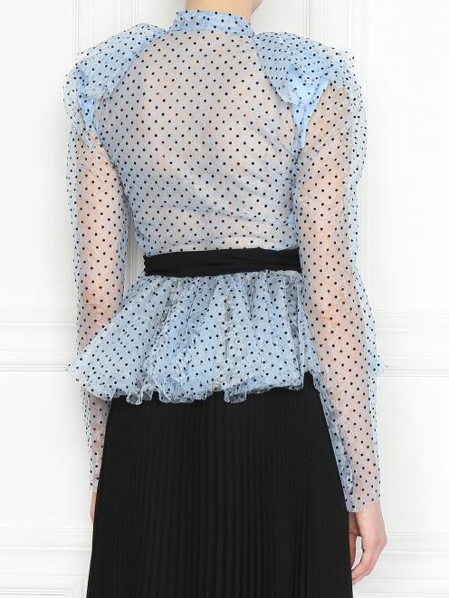 Блуза из кружева с принтом и жабо - МодельВерхНиз1