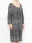 Платье из смешанной шерсти с узором Marina Sport  –  МодельВерхНиз