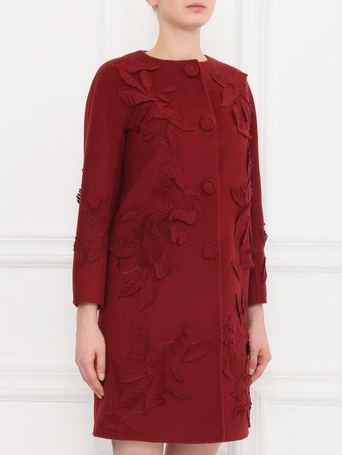 Пальто из шерсти с декором - Модель Верх-Низ