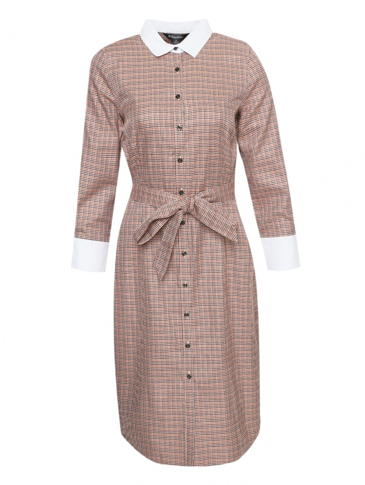 Платье-миди из хлопка с узором и контрастной отделкой Brooks Brothers  –  Общий вид