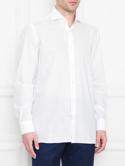 Рубашка их хлопка однотонная  - МодельВерхНиз
