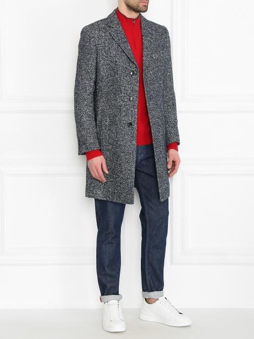 Пальто из смешанной шерсти с узором  - Общий вид