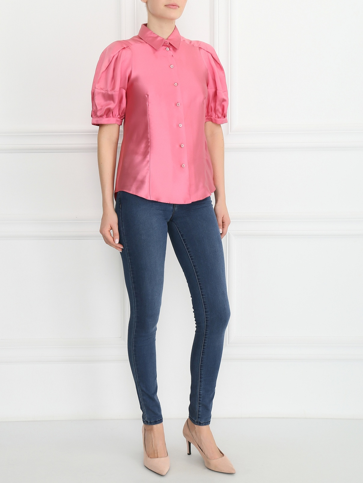 Блуза из шелка Moschino  –  Модель Общий вид  – Цвет:  Розовый