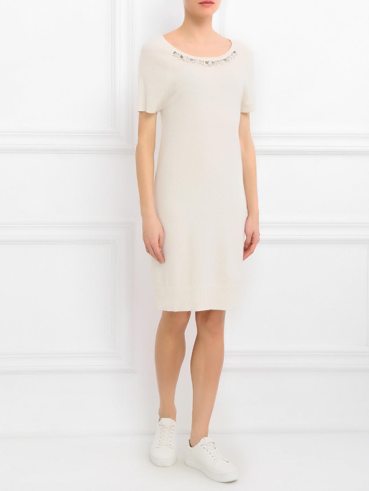 Платье из смешаной шерсти декорированное стразами Blugirl Blumarine  –  Модель Общий вид