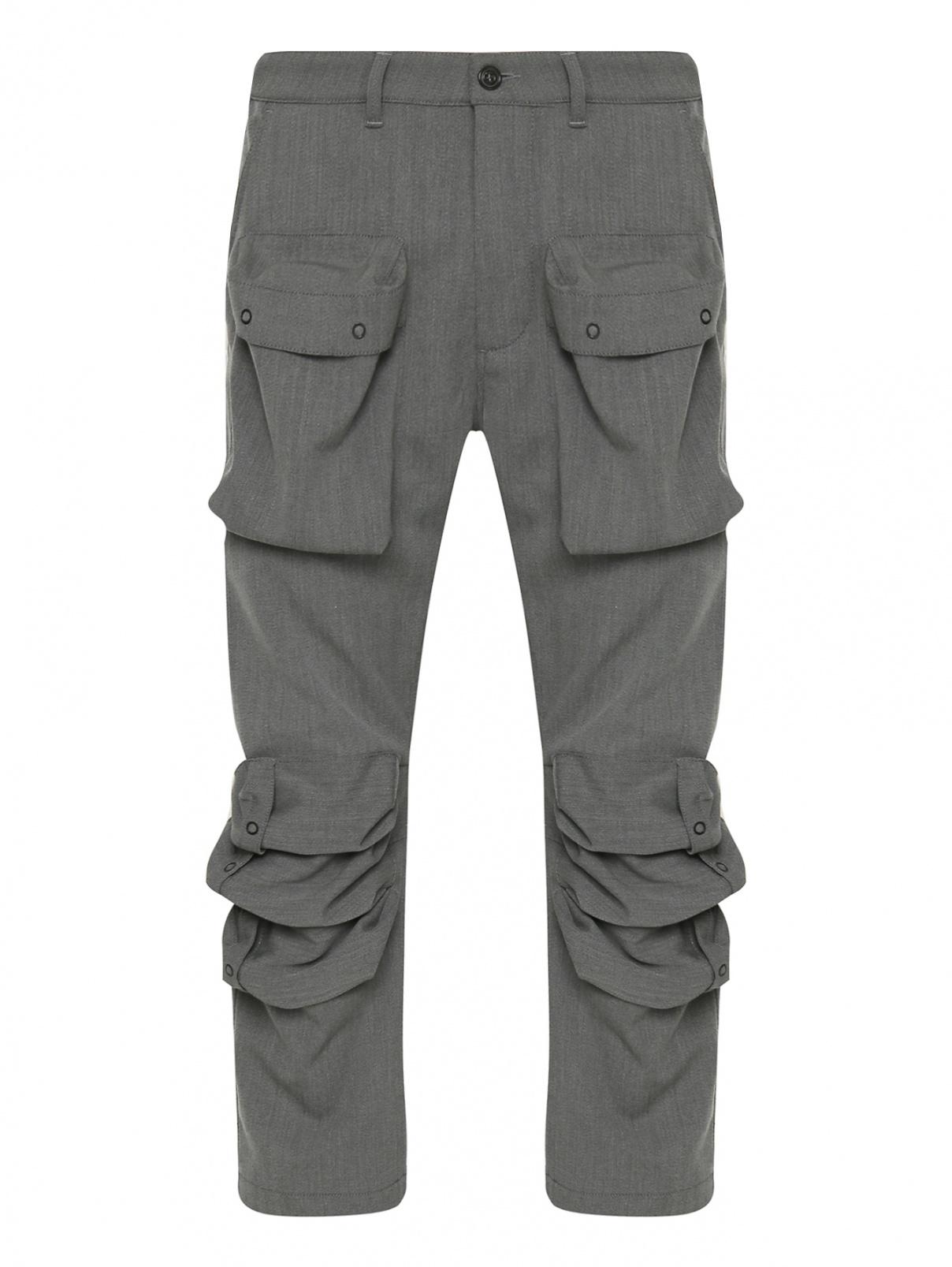 Брюки из смешанной шерсти с накладными карманами Paul&Shark  –  Общий вид  – Цвет:  Серый