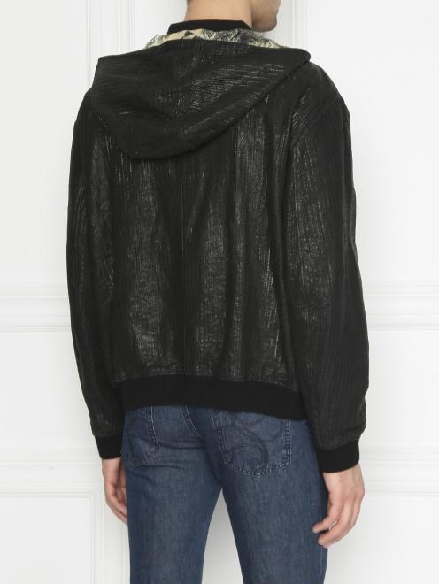 Куртка из кожи на молнии с капюшоном - МодельВерхНиз1