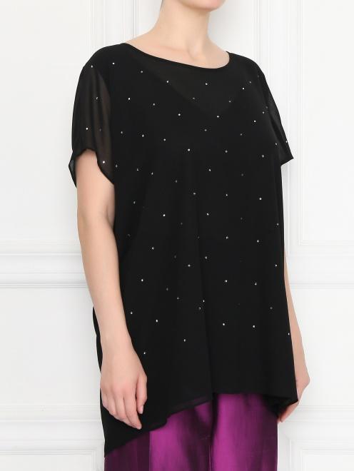Блуза свободного кроя декорированная стразами  - МодельВерхНиз