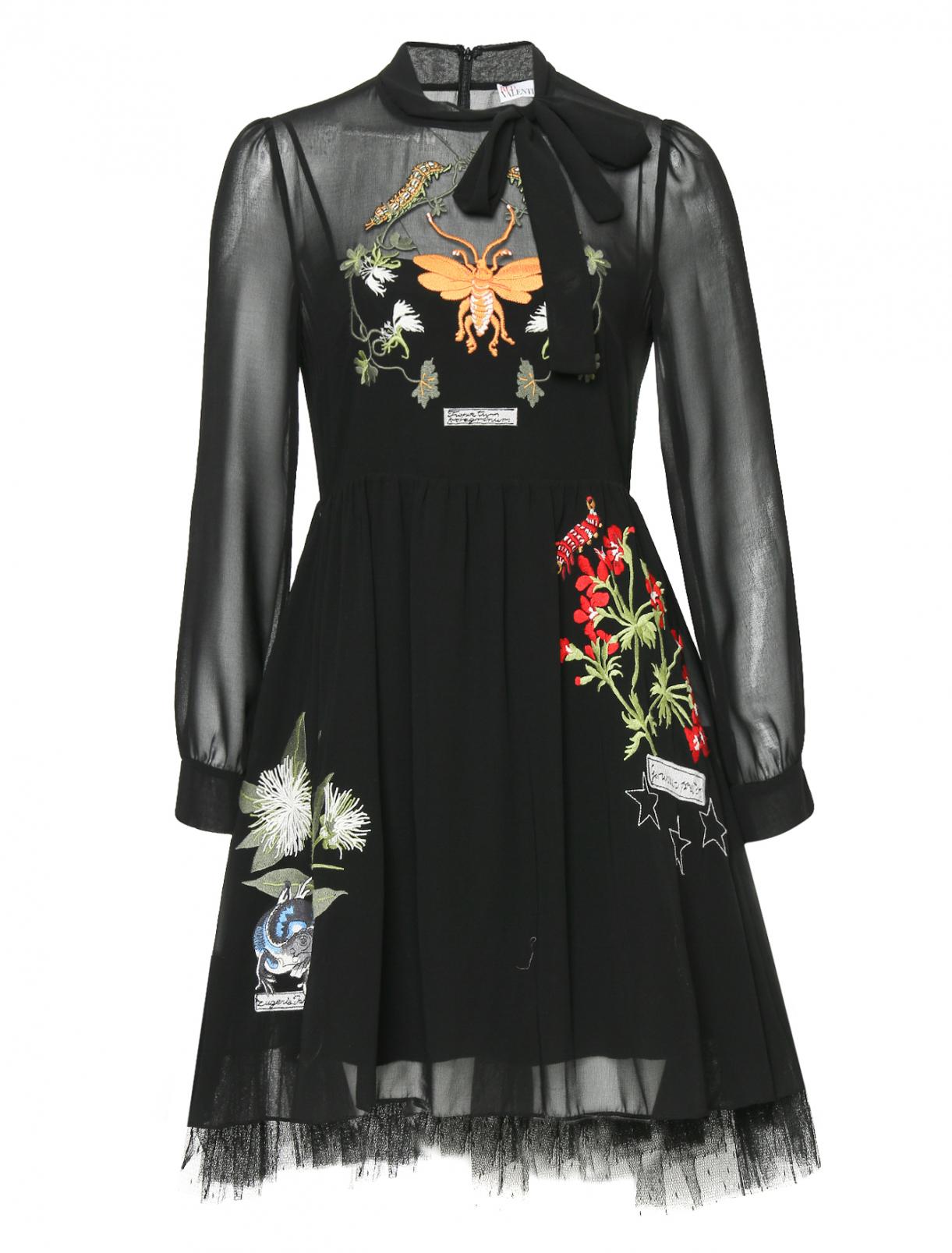 Платье-миди с декоративной вышивкой Red Valentino  –  Общий вид