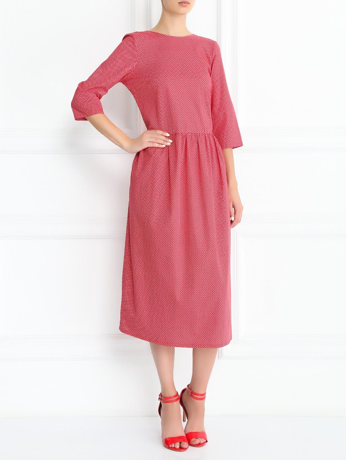 Платье-миди из хлопка с узором Petit Jete  –  Модель Общий вид