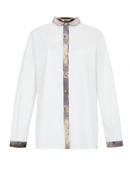 Рубашка из хлопка с контрастной вставкой  - фото 1