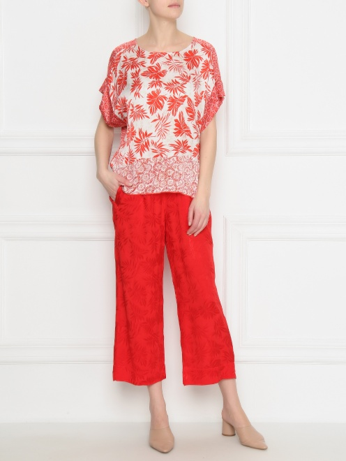 Блуза из ткани с принтом - Общий вид