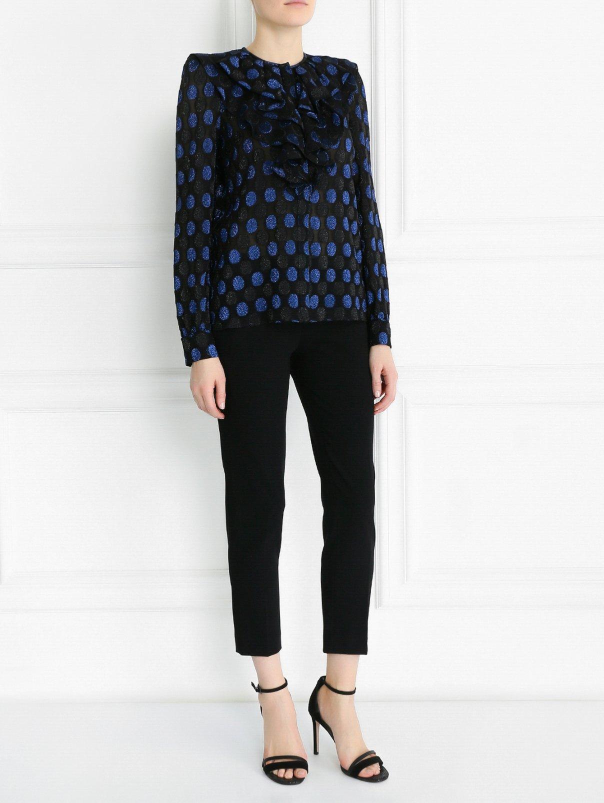 Блуза из смешанного шелка с жабо и узором Sonia Rykiel  –  Модель Общий вид  – Цвет:  Узор