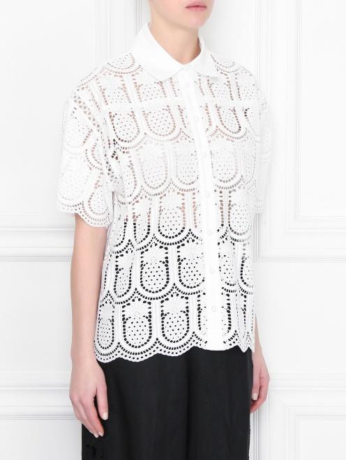 Блуза из хлопка с кружевным узором - МодельВерхНиз