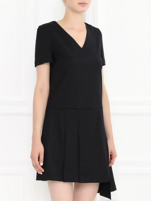 Платье-мини из шерсти с декоративной молнией  - Модель Верх-Низ