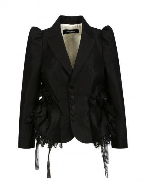 Жакет из шерсти и шелка с объемными рукавами и кружевом - Общий вид