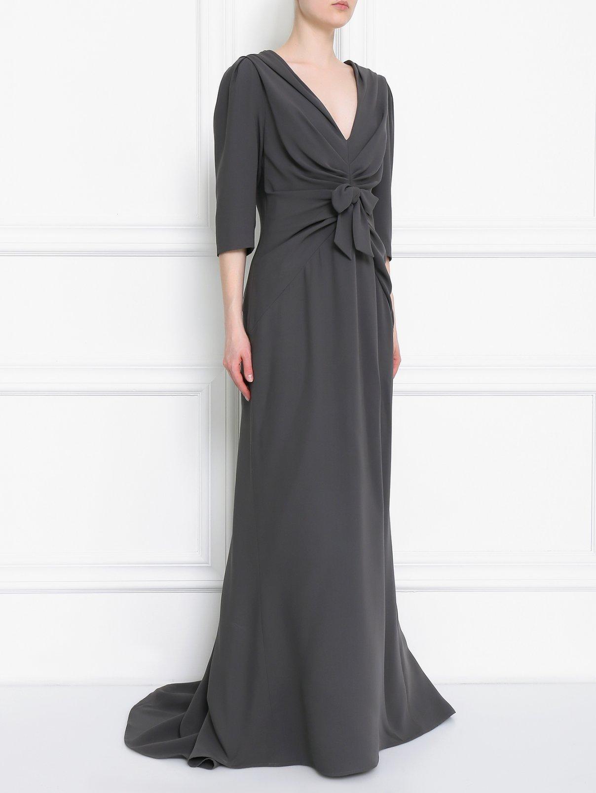 Платье-макси из шелка с драпировкой Carolina Herrera  –  Модель Общий вид