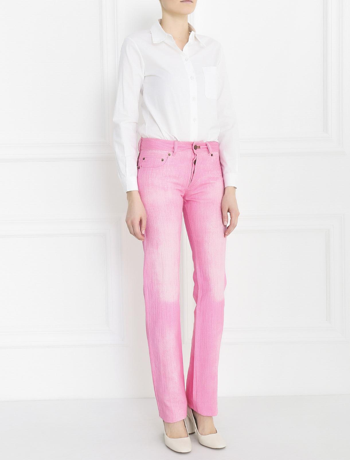 Джинсы прямого кроя с вышивкой Alena Akhmadullina  –  Модель Общий вид  – Цвет:  Розовый