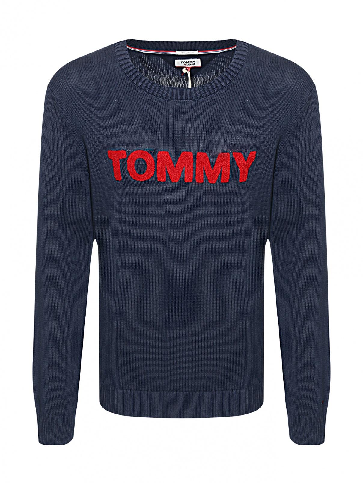 Джемпер из хлопка с аппликацией Tommy Jeans  –  Общий вид  – Цвет:  Синий