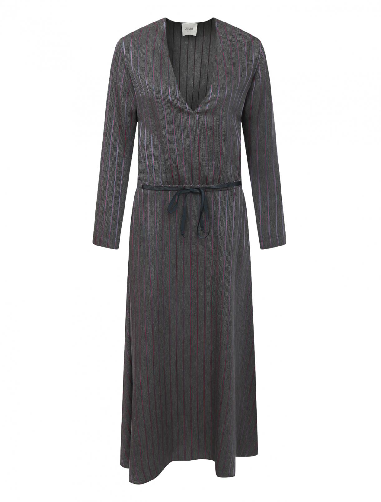 """Платье с узором """"полоска"""" Alysi  –  Общий вид  – Цвет:  Серый"""