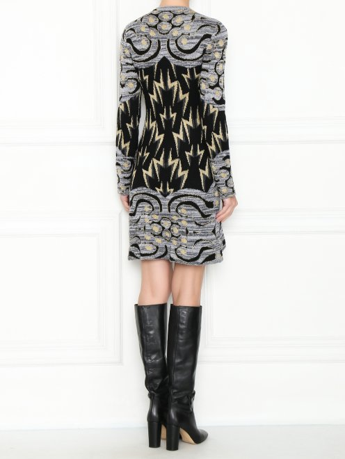 Трикотажное платье из шерсти с узором - МодельВерхНиз1