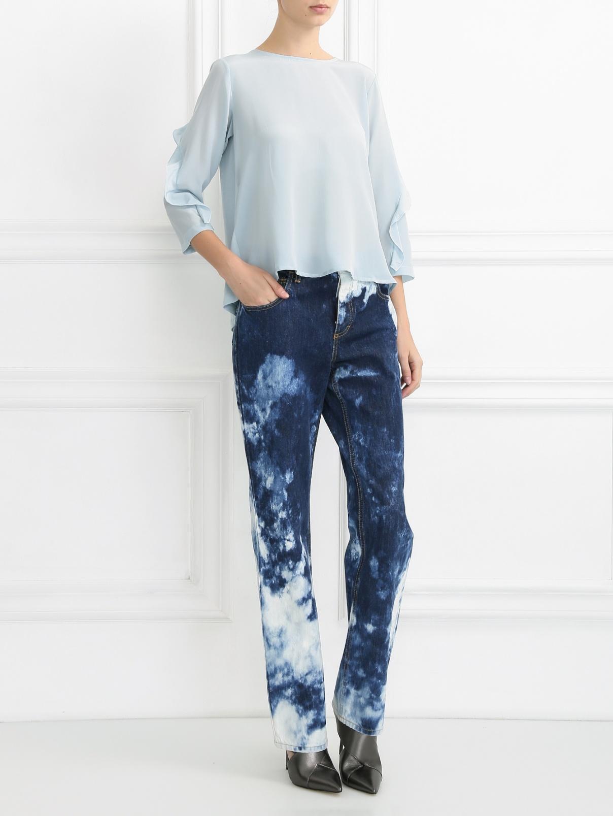 Свободные джинсы из вареного денима Au Jour Le Jour  –  Модель Общий вид  – Цвет:  Синий