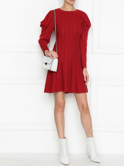 Платье из шерсти с объемными рукавами - Общий вид