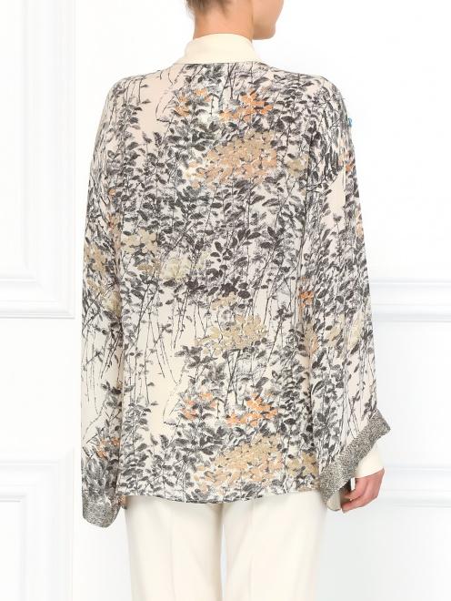 Шелковая блуза с принтом декорированная  пайетками  - Модель Верх-Низ1