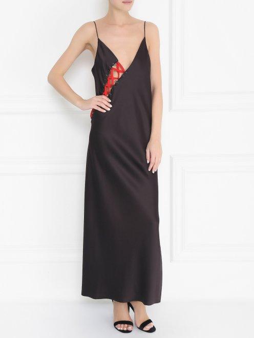 Платье из шелка с декором - Общий вид