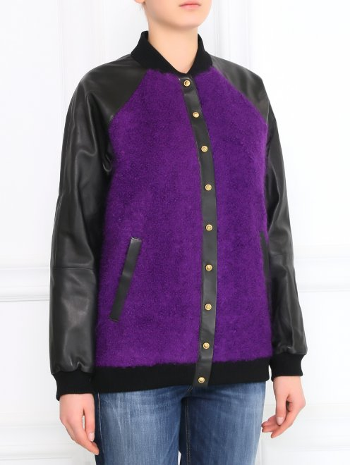 Куртка-бомбер из кожи и мохера - Модель Верх-Низ