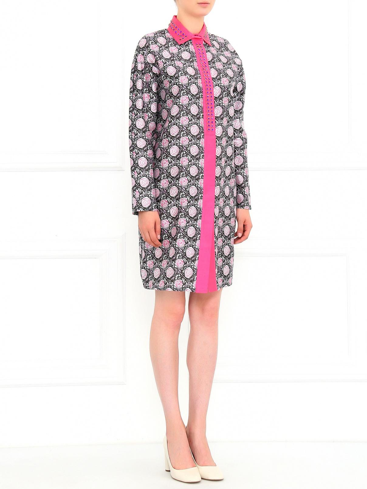 Платье из шелка с узором Au Jour Le Jour  –  Модель Общий вид  – Цвет:  Узор