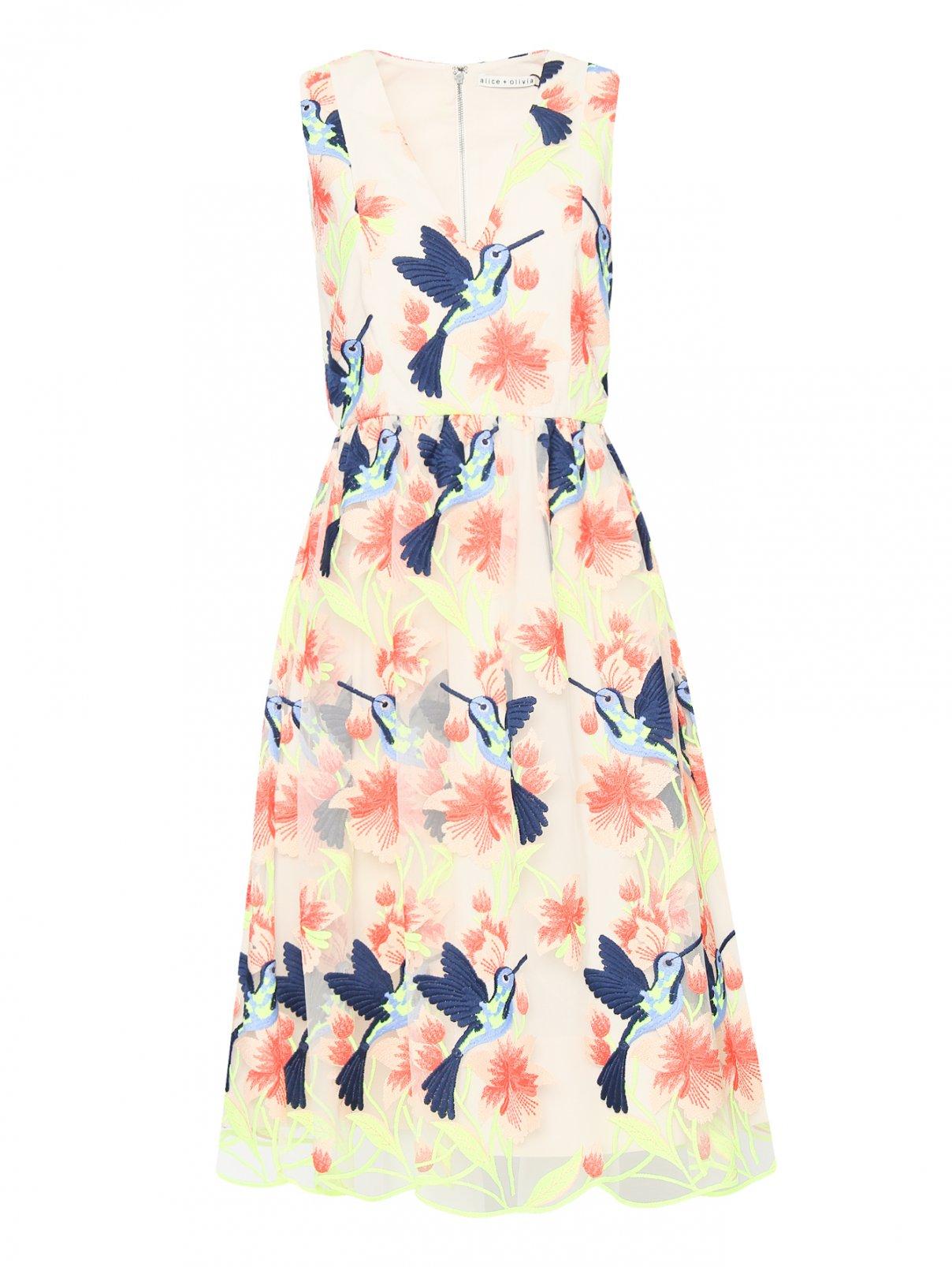 Платье-миди с декоративной вышивкой Alice+Olivia  –  Общий вид