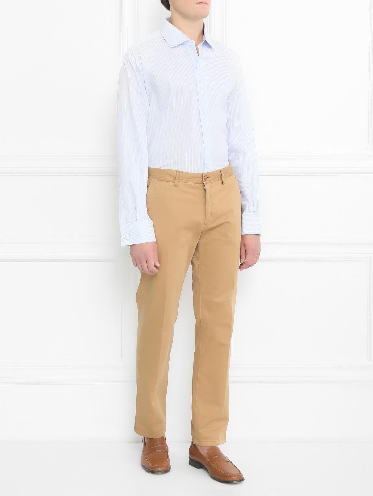 """Рубашка из хлопка с узором """"полоска"""" Brooks Brothers  –  Модель Общий вид  – Цвет:  Узор"""