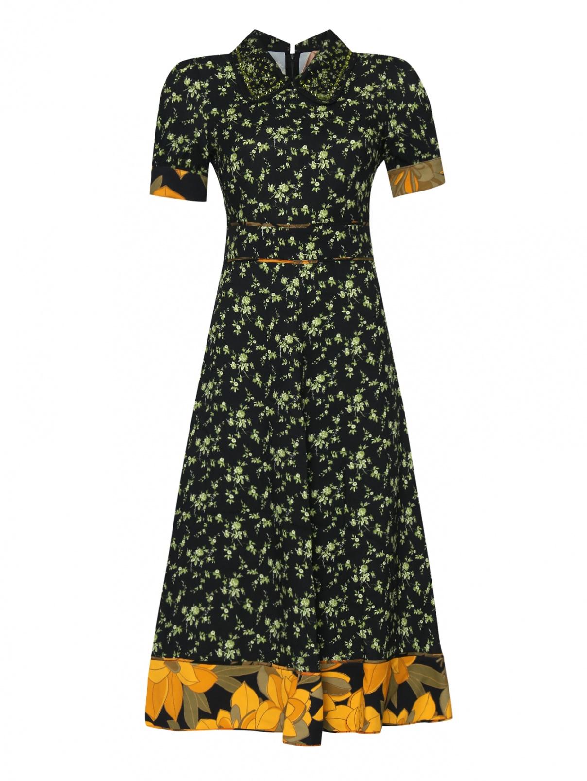 Платье из вискозы, с цветочным узором N21  –  Общий вид  – Цвет:  Черный