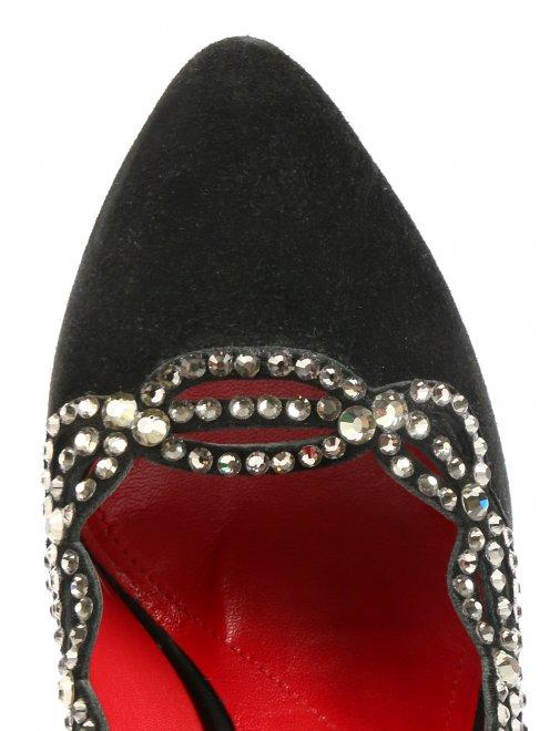 Туфли из кожи на высоком каблуке декорированные кристаллами - Обтравка3