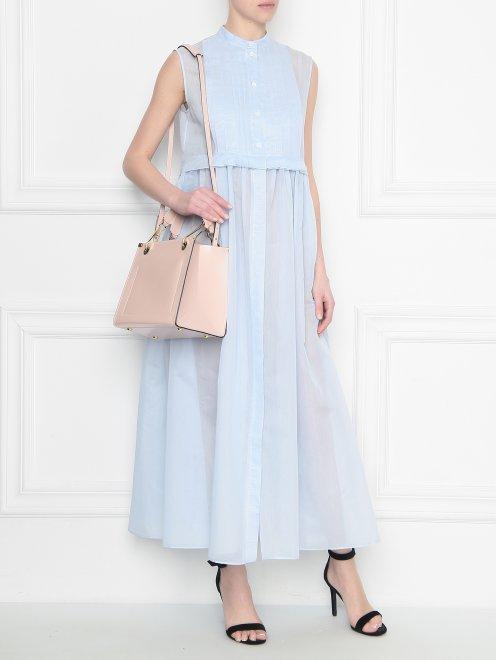 Платье из хлопка и шелка со складками - Общий вид