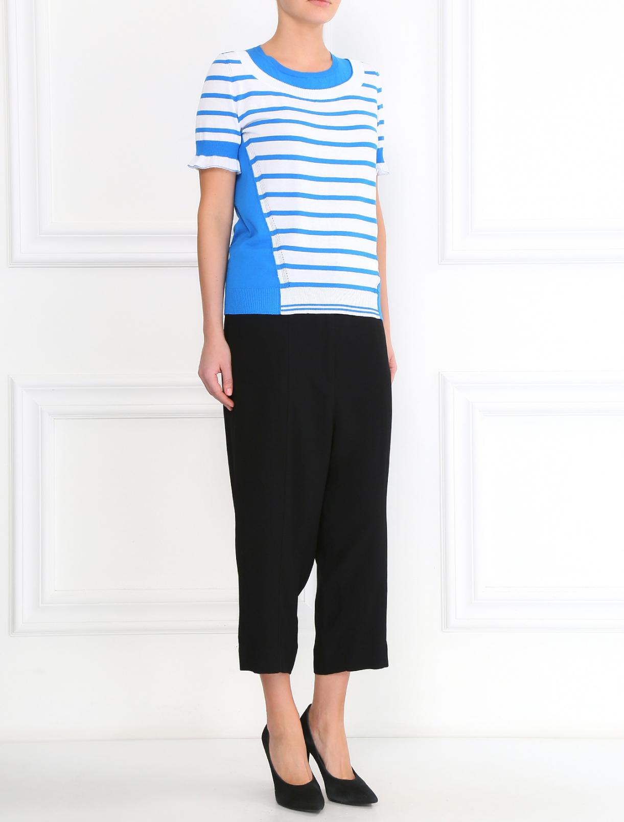 Укороченные свободные брюки с поясом Isola Marras  –  Модель Общий вид  – Цвет:  Черный