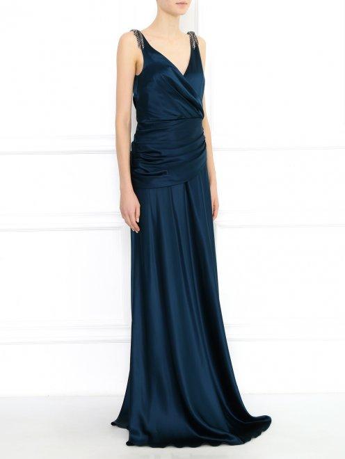 Платье-макси декорированное кристаллами - Модель Верх-Низ