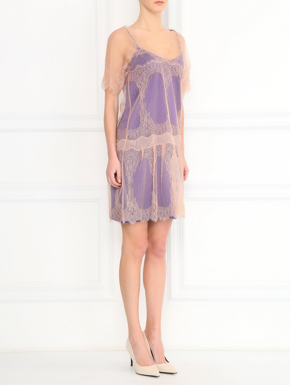 Платье из шелкового кружева с контрастной подкладкой Alberta Ferretti  –  Модель Общий вид