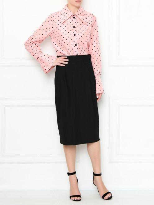 Блуза из шелка с узором горох - Общий вид