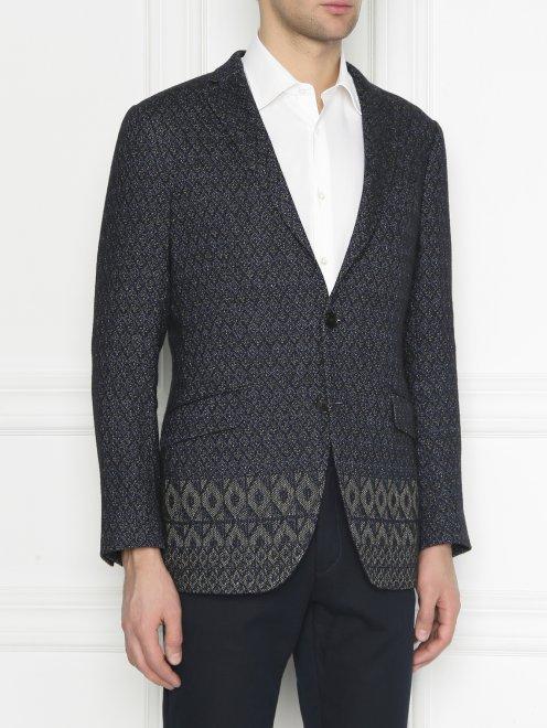 Пиджак однобортный из льна с узором  - МодельВерхНиз