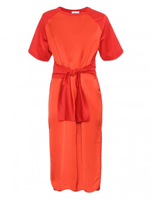 Платье-миди с короткими рукавами - Общий вид