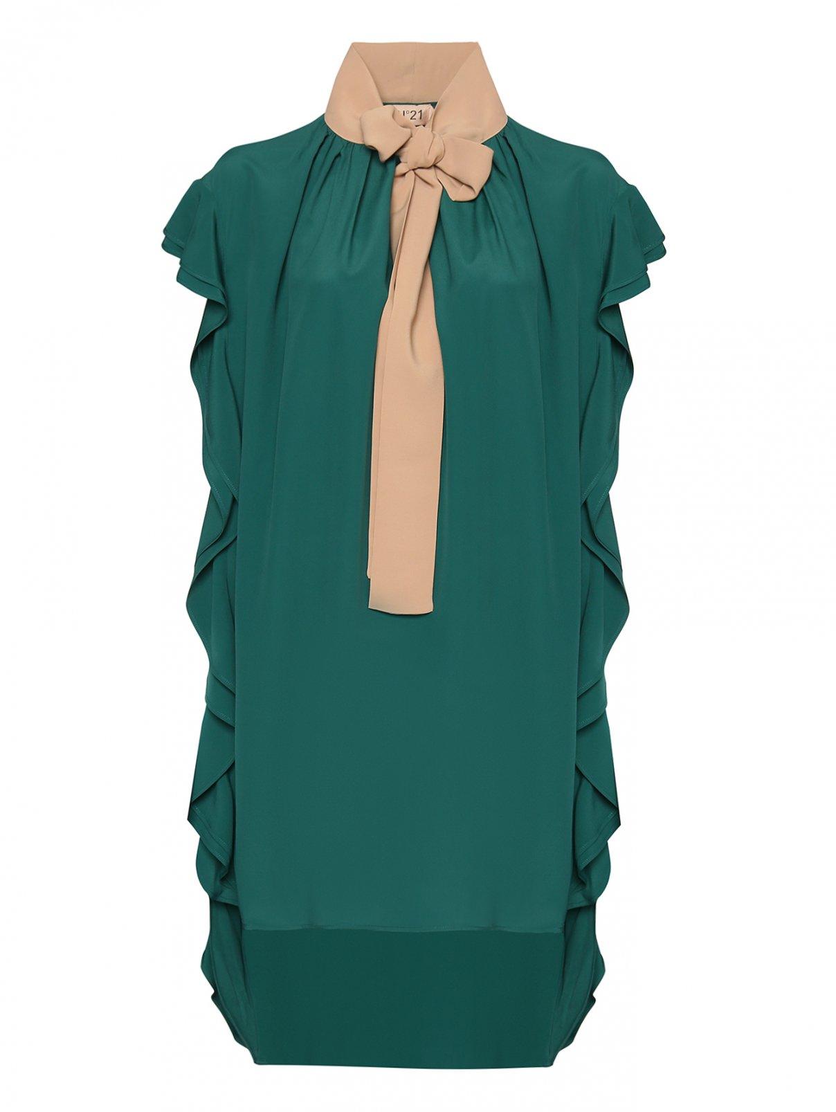 Платье прямого силуэта с декоративным воланом N21  –  Общий вид