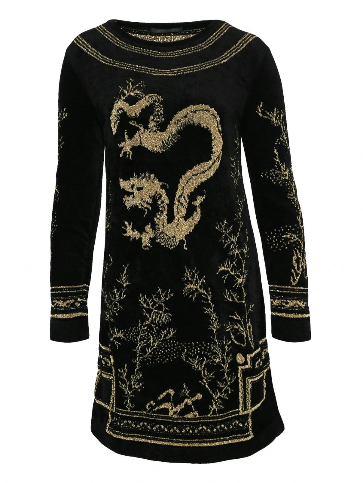 Платье-мини свободного кроя с декоративной вышивкой Alberta Ferretti  –  Общий вид