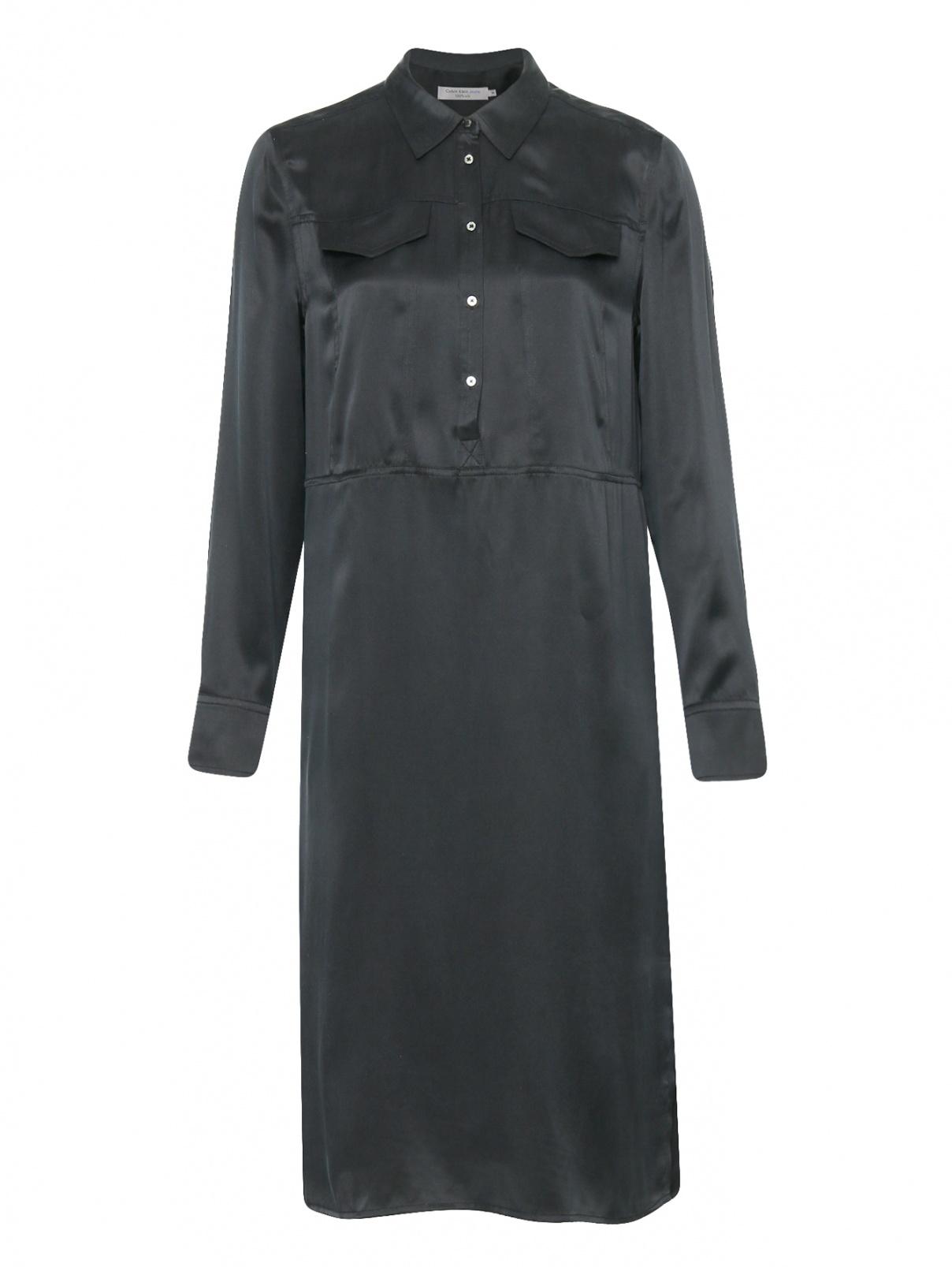 Платье-миди из шелка прямого кроя с карманами Calvin Klein  –  Общий вид
