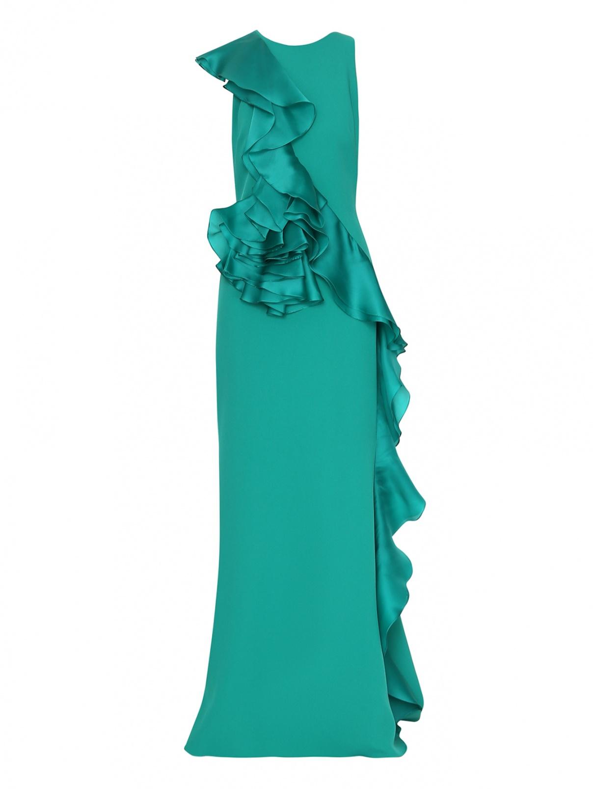 Платье макси с воланом Badgley Mischka  –  Общий вид  – Цвет:  Зеленый