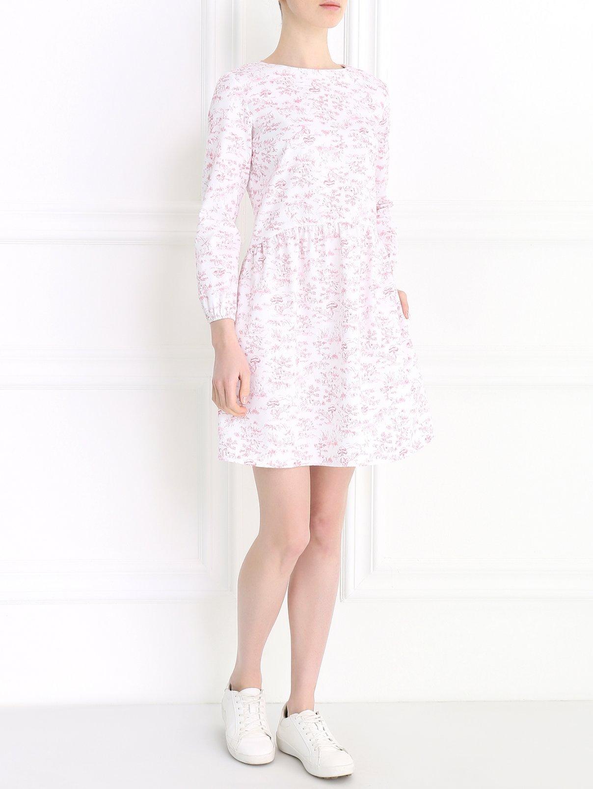Платье-мини с длинным рукавом Petit Jete  –  Модель Общий вид  – Цвет:  Узор